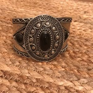 Silver and black stone cuff